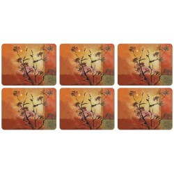 All 6 Sunset corkbacked tablemats. Each place mat has a stunning design with soft orange red brown and yellow colours