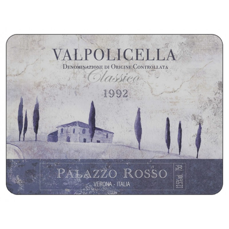 Vino Italiano Valpolicella wine label design of classic corkbacked tablemats