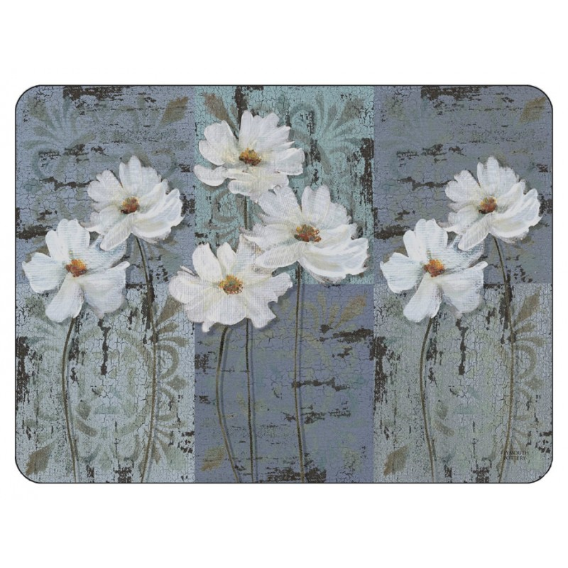 White Poppies floral corkbacked placemats, traditional design with blue grey colours