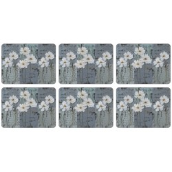 All 6 White Poppies corkbacked tablemats, traditional floral design