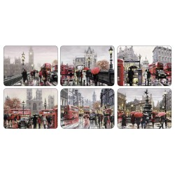Set of 6 Streets of London corkbacked tablemats each placemat different
