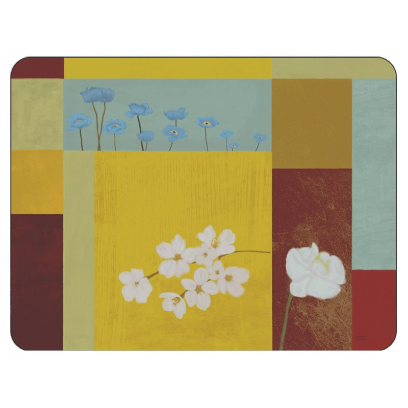 Yellow abstract corkbacked placemat design of white daisy flowers in squares