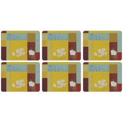 Yellow abstract flower pattern, set of 6 corkbacked placemats showing white daisies in squares