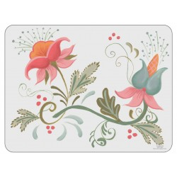 Spring design, white background, corkbacked floral placemats
