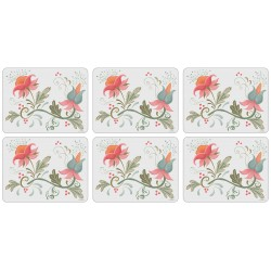 Spring traditional floral design on white background, set of 6 corkbacked placemats