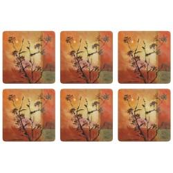Stylish set of 6 corkbacked coasters with stunningly colourful Sunset design