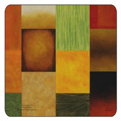 Colourful, modern design of square corkbacked coasters, Majestic by Plymouth