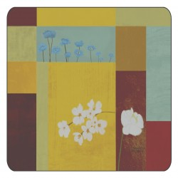 Abstract design of square corkbacked coasters with floral pattern