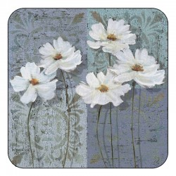 Floral corkbacked coasters, White Poppies design