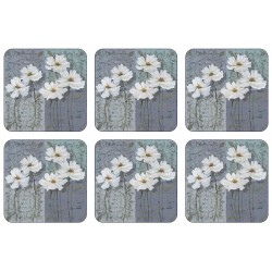 Floral corkbacked set of 6 square coasters, classic White Poppies pattern