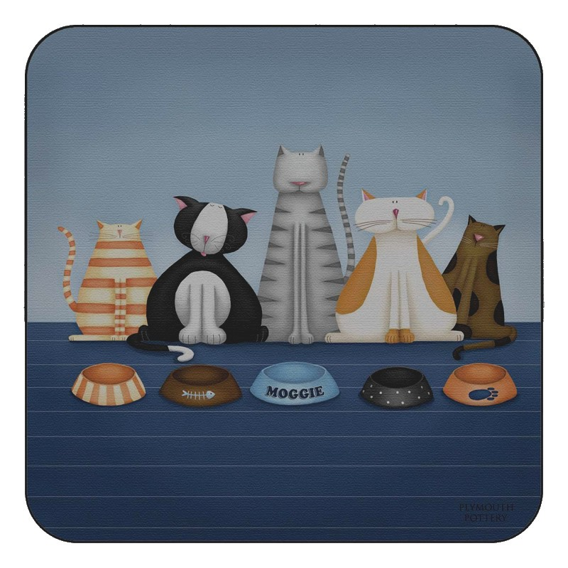 Animal design of Hungry Cats square corkbacked coasters