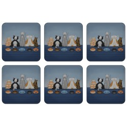 Set of 6 Animal design corkbacked square coasters, Hungry Cats by Jo Parry