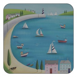 Nautical drinks coasters, Harbour View square corkbacked design