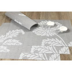 Taupe woven vinyl Fleximats placemats with decorative bowls