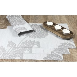All 4 tablemats from reverse side of Taupe woven vinyl Fleximats placemats