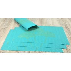 Vibrant green Verdigris woven vinyl tablemats reverse side showing all 4 placemats