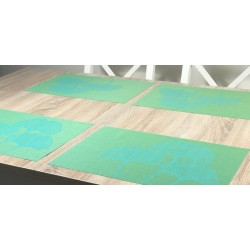 Vibrant green Verdigris woven vinyl tablemats by Plymouth Pottery
