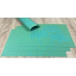 Vibrant green Verdigris woven vinyl tablemats