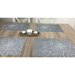 Woven vinyl tablemats Steel Fleximats design set of four
