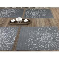 Close up of all 4 woven vinyl tablemats Steel Fleximats design