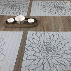 Reverse side of woven vinyl tablemats Steel Fleximats design with serving bowls on dining table