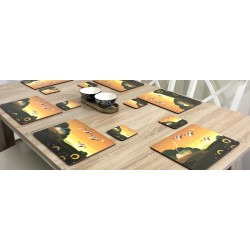 Dining table display of Plymouth placemats corkbacked Summer Gold design
