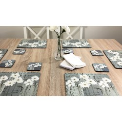 wooden dining table image of White Poppies corkbacked tablemats, traditional floral design