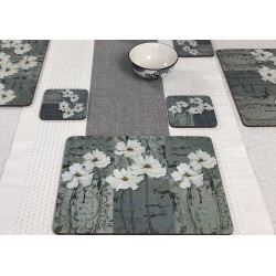 runner on dining table with White Poppies corkbacked tablemats, traditional floral design