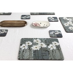 tablecloth with White Poppies corkbacked tablemats, traditional floral design
