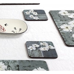 Close up image of floral corkbacked coasters, White Poppies design