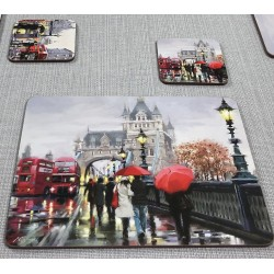 Streets of London corkbacked coasters on grey runner