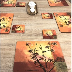 Set of 6 Sunset design corkbacked tablemats by Plymouth Pottery