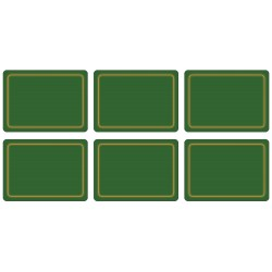 Set of 6 Forest Green melamine placemats, classic corkbacked UK made tablemats