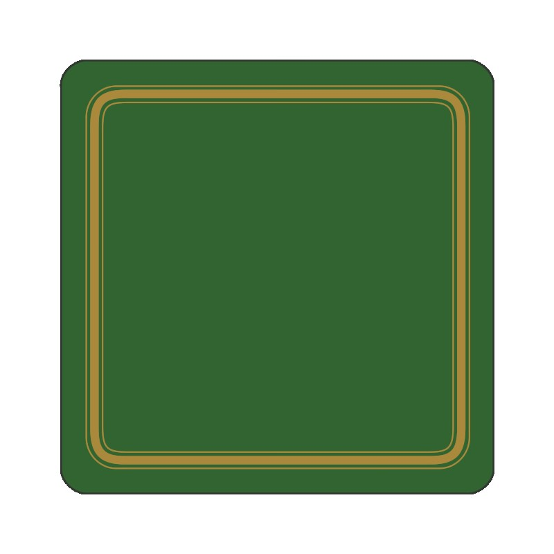Forest Green colour melamine drinks coasters corkbacked UK made