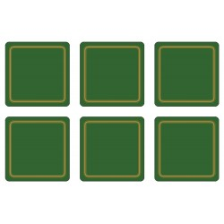 Pack of 6 Forest Green colour melamine coasters corkbacked UK made drinks coaster set
