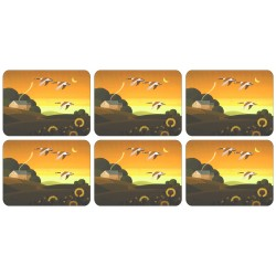 Set of 6 Plymouth placemats corkbacked Summer Gold design