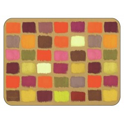 Corkbacked funky placemats colourful Harlequin pattern.