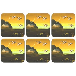 Plymouth Summer Gold corkbacked coasters - all 6