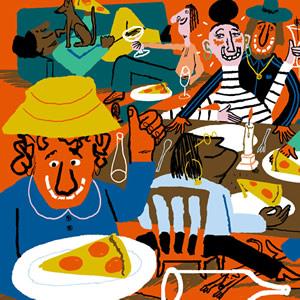 Cartoon of a modern stylish dinner party