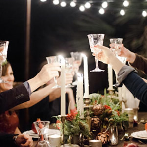 Cheers at modern dinner party