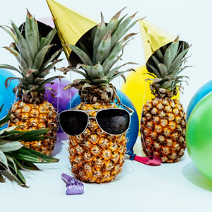 Fun image of pineapples in kitchen