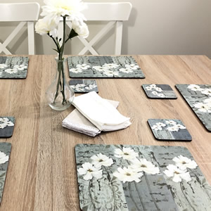 White Poppies floral placemats UK sized