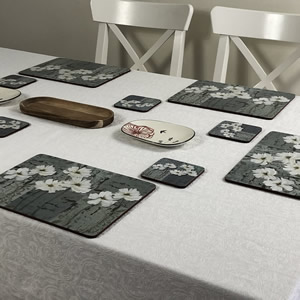 Stylish placemats White Poppies design on table