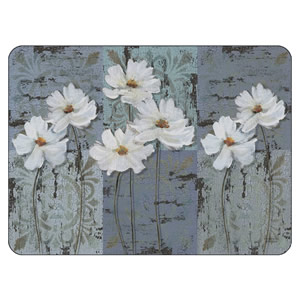 White Poppies floral placemats and coasters UK sized